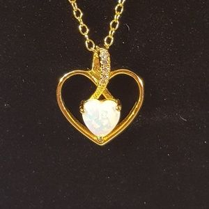 Gold Heart w/Opal Center piece on 18 inch chain